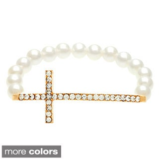 Alexa Starr Goldtone Faux Pearl and Rhinestone Sideways Cross Bracelet