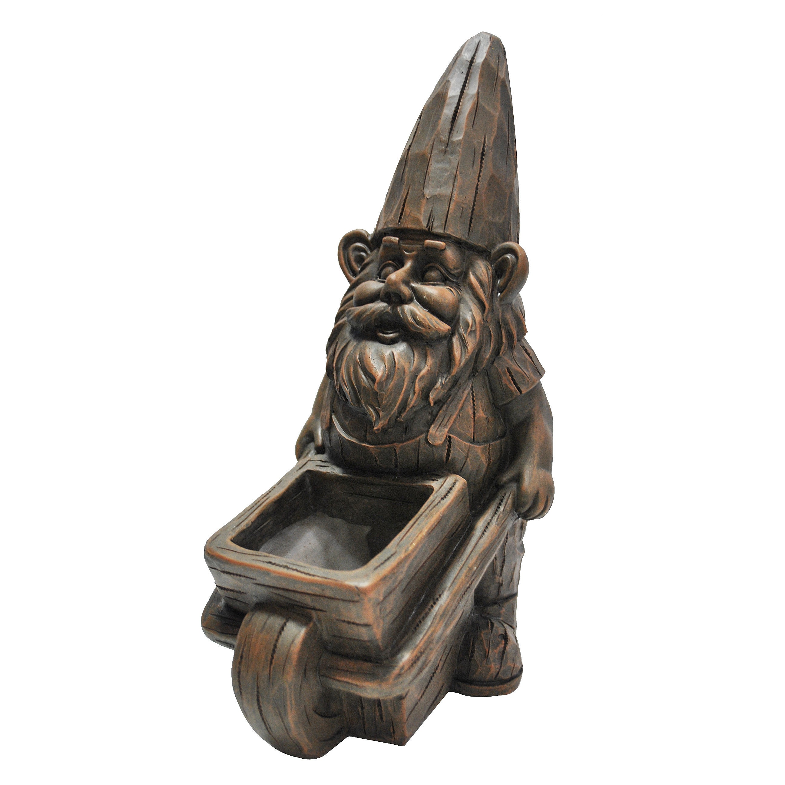 kelkay Wheelbarrow Planter Gnome Statue (Resin), Outdoor ...