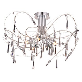 Somette Grandcour 5-light Royal Cut Crystal and Chrome Flush Mount
