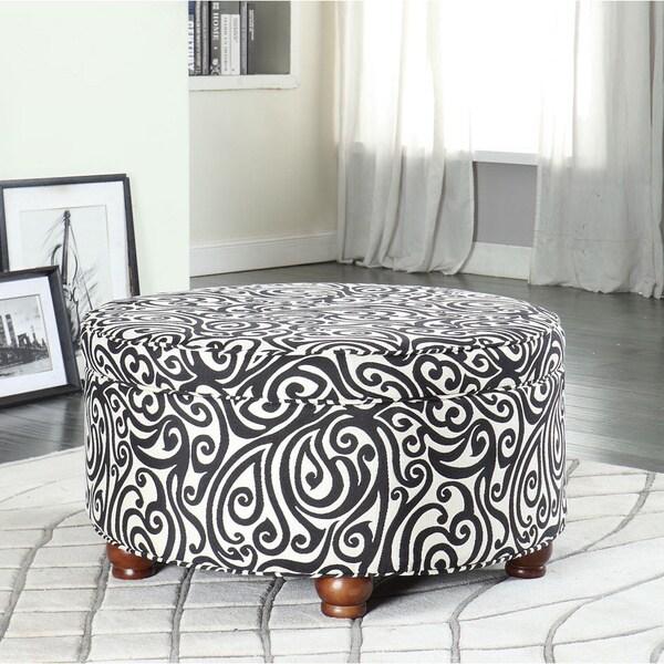 Textured Black Luxurious Round Ottoman