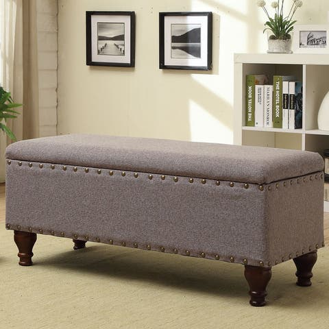 Copper Grove Maubeuge Large Rectangle Storage bench with Nail Head Trim - Gray