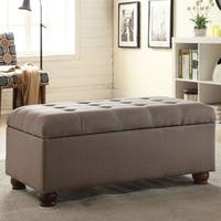 HomePop Grey Linen Tufted Storage Bench