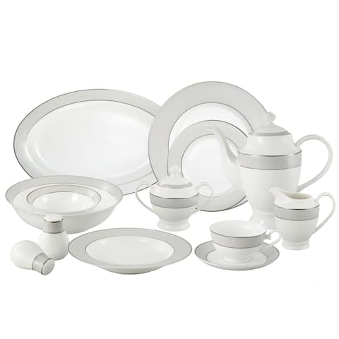 Lorren Home Trends La Luna Collection Bone China 57-piece Silver Trim Dinnerware Set (Service for 8)