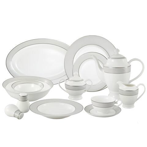 Lorren Home Trends La Luna Collection Bone China 57-piece Silver Trim Dinnerware Set (Service for 8)