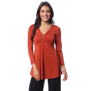 24/7 Comfort Apparel Women's Long Sleeve Three Button Tunic Top