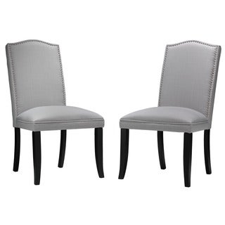 Cortesi Home Gray Linen Camelback Dining Chair (Set of 2)