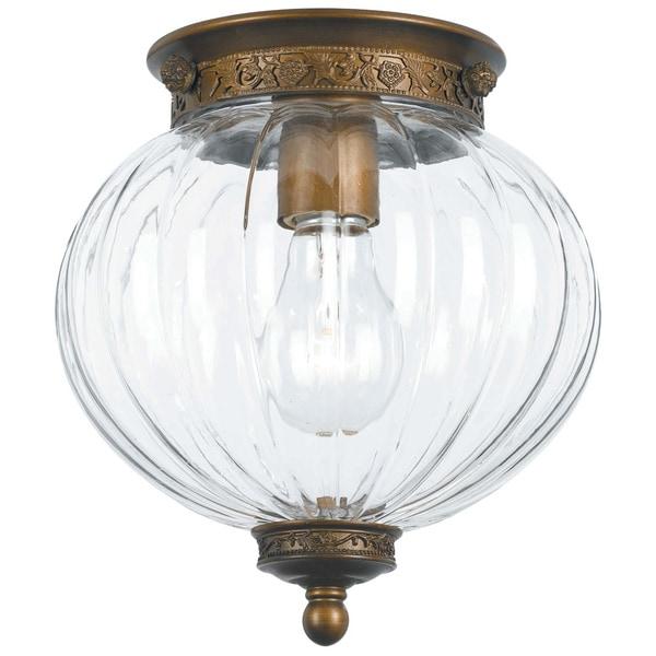 Crystorama Camden Collection 1-light Antique Brass Flush Mount