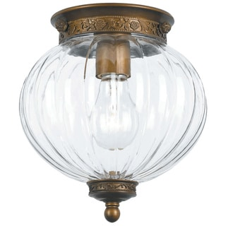 Crystorama Camden Collection 1-light Antique Brass Flush Mount