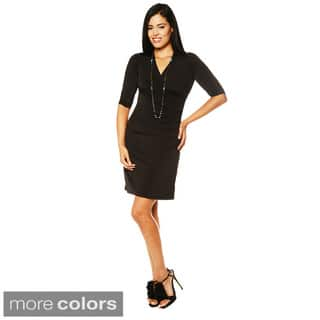 24/7 Comfort Apparel Women's Faux Wrap Dress-Plus Size Available|https://ak1.ostkcdn.com/images/products/8493841/24-7-Comfort-Apparel-Womens-Faux-Wrap-Dress-P15780636.jpg?impolicy=medium