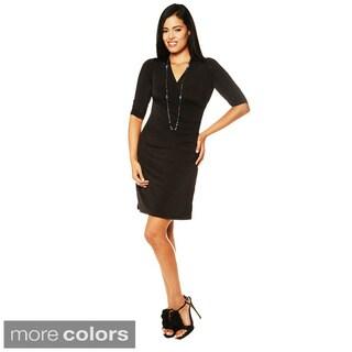 24/7 Comfort Apparel Women's Faux Wrap Dress-Plus Size Available