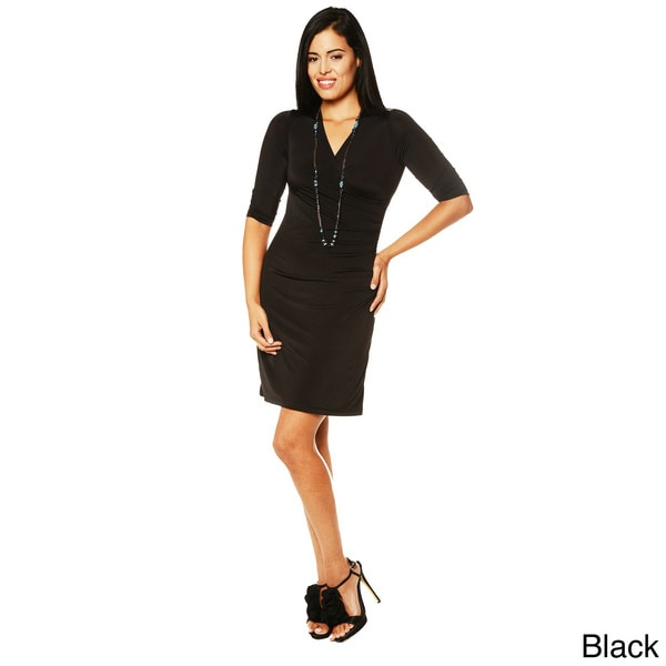 24/7 Comfort Apparel Women's Faux Wrap Dress-Plus Size Available