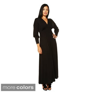 24/7 Comfort Apparel Women's Long Sleeve Empire Maxi Dress