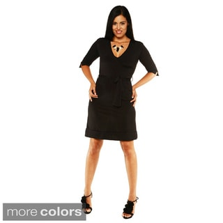 24/7 Comfort Apparel Women's Tie Waist Faux-wrap Dress