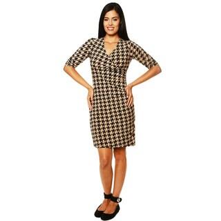 24/7 Comfort Apparel Women's Faux Wrap Printed Dress