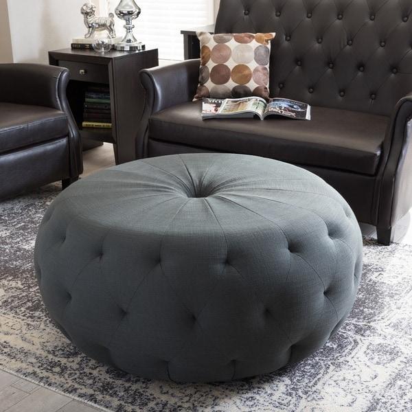 Baxton Studio Glazebrook Beige Linen Modern Tufted Ottoman
