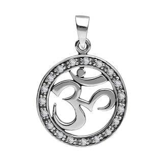 Enclosed Aum or Om White Cubic Zirconia .925 Silver Pendant (Thailand)
