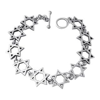 Handmade Jewish Star of David Link .925 Sterling Silver Toggle Bracelet (Thailand)