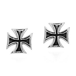 Handmade Hollow Maltese Iron Cross Stud .925 Silver Earrings (Thailand)