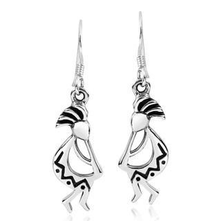 Handmade Native KOKOPELLI .925 Silver Dangle Festive Earrings (Thailand)
