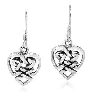 Handmade Union of Love Celtic Heart Knot .925 Silver Dangle Earrings (Thailand)