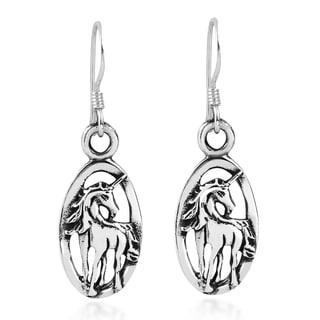 Oval Framed Magical Unicorn Sterling Silver Dangle Earrings (Thailand)