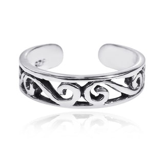 Swirling Beauty .925 Silver Adjustable Toe or Pinky Ring (Thailand)