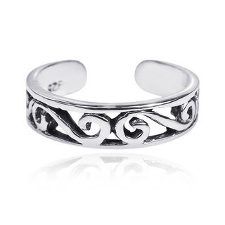 Handmade Swirling Beauty .925 Silver Adjustable Toe or Pinky Ring (Thailand)