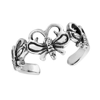 Triple Butterfly Wrap .925 Silver Toe or Pinky Ring (Thailand)