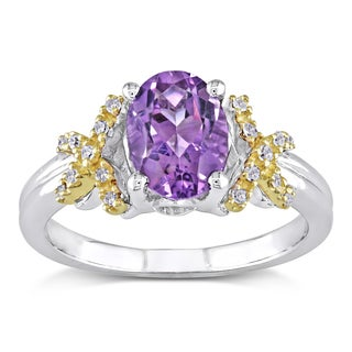 Miadora 10k Yellow Gold and Silver Amethyst and Diamond Ring (H-I, I2-I3)