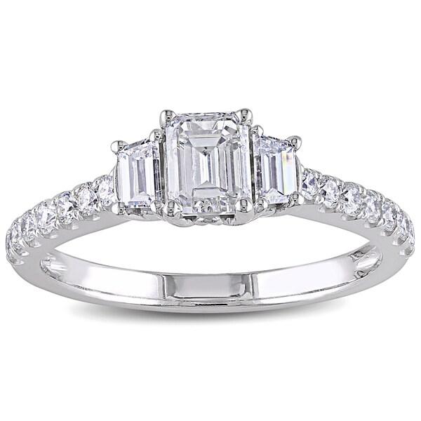 Miadora 14k White Gold 1 1/4ct TDW Diamond Emerald Cut Ring