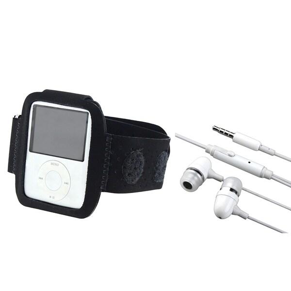 BasAcc White Headset/ Black Suede Armband for Apple iPod nano 3