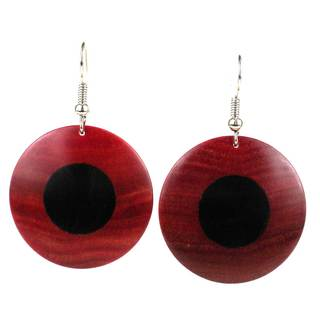 Handcrafted African Ebony and Rosewood Disk Earrings (Mozambique)