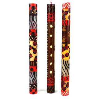Set of Three Boxed Hand-painted Taper Candles with Uzimai Design