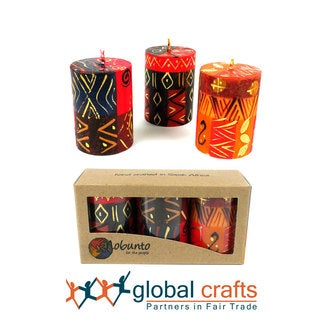 Set of Three Boxed Handmade Mini-Pillar Candles with Bongazi Design (Set of 3) (South Africa)