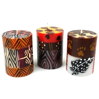 Set of 3 Boxed Hand-painted Uzima Design Mini-Pillar Candles (South Africa)