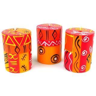 Handmade Mini-Pillar Candles with Zahabu Design Set of 3 (South Africa)