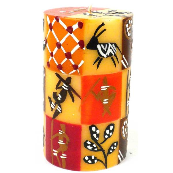 Single Boxed Hand-painted Pillar Candle with Damisi Design (South Africa)