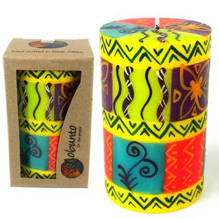 Single Boxed Hand-painted Pillar Candle with Matuko Design (South Africa)