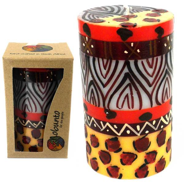 Single Boxed Hand-painted Pillar Candle with Uzima Design , Handmade in South Africa