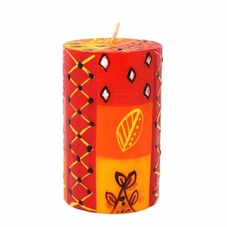 Single Boxed Hand-painted Zahabu Design Pillar Candle (South Africa)