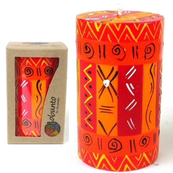 Single Boxed Handmade Zahabu Design Pillar Candle (South Africa)