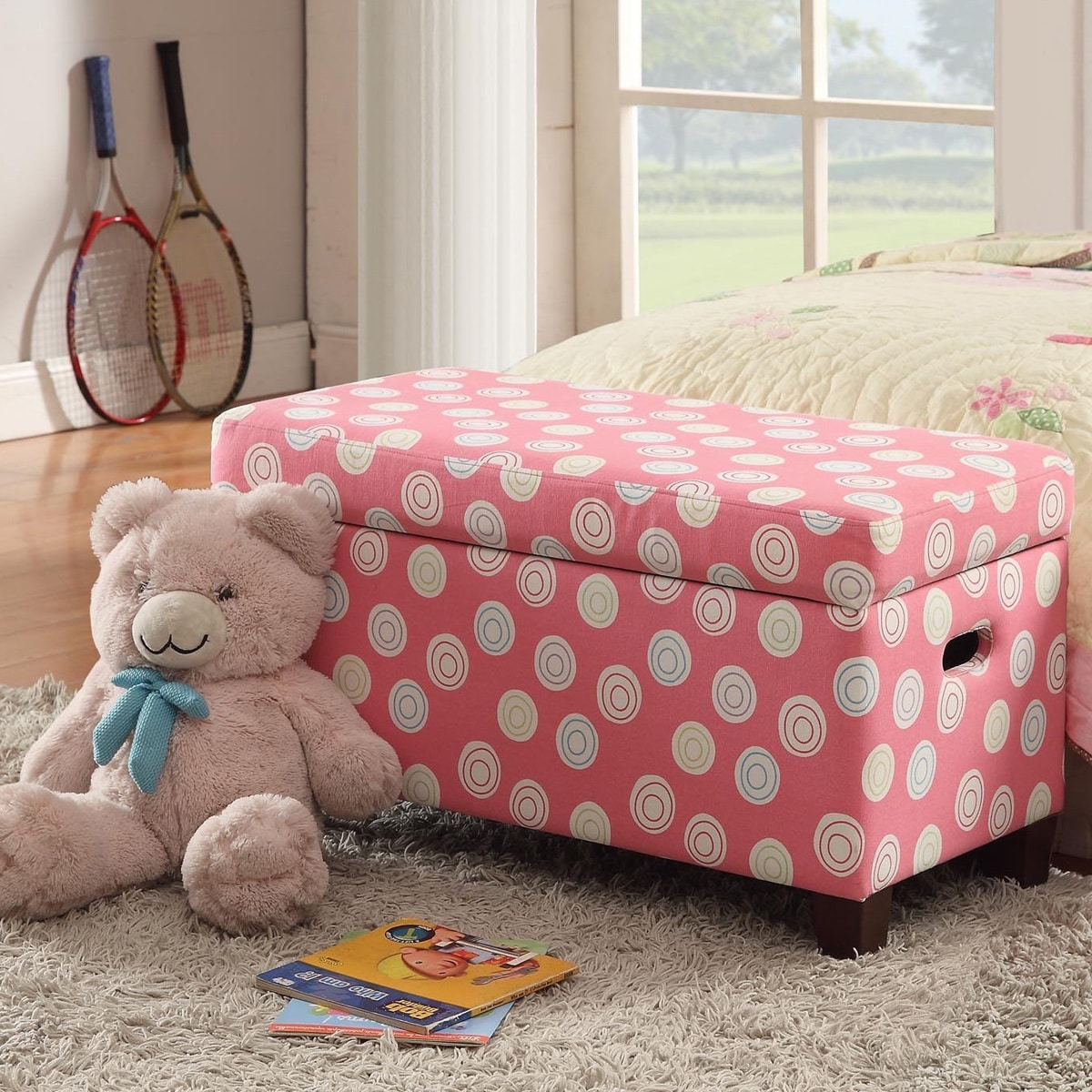 HomePop Deluxe Pink Storage Bench (pink and multi color s...