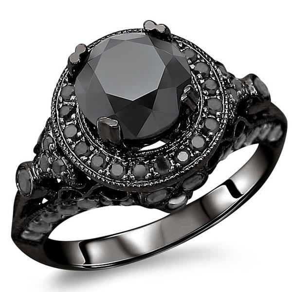 Noori 14k Gold 2 1/2ct TDW Certified Black Diamond Ring