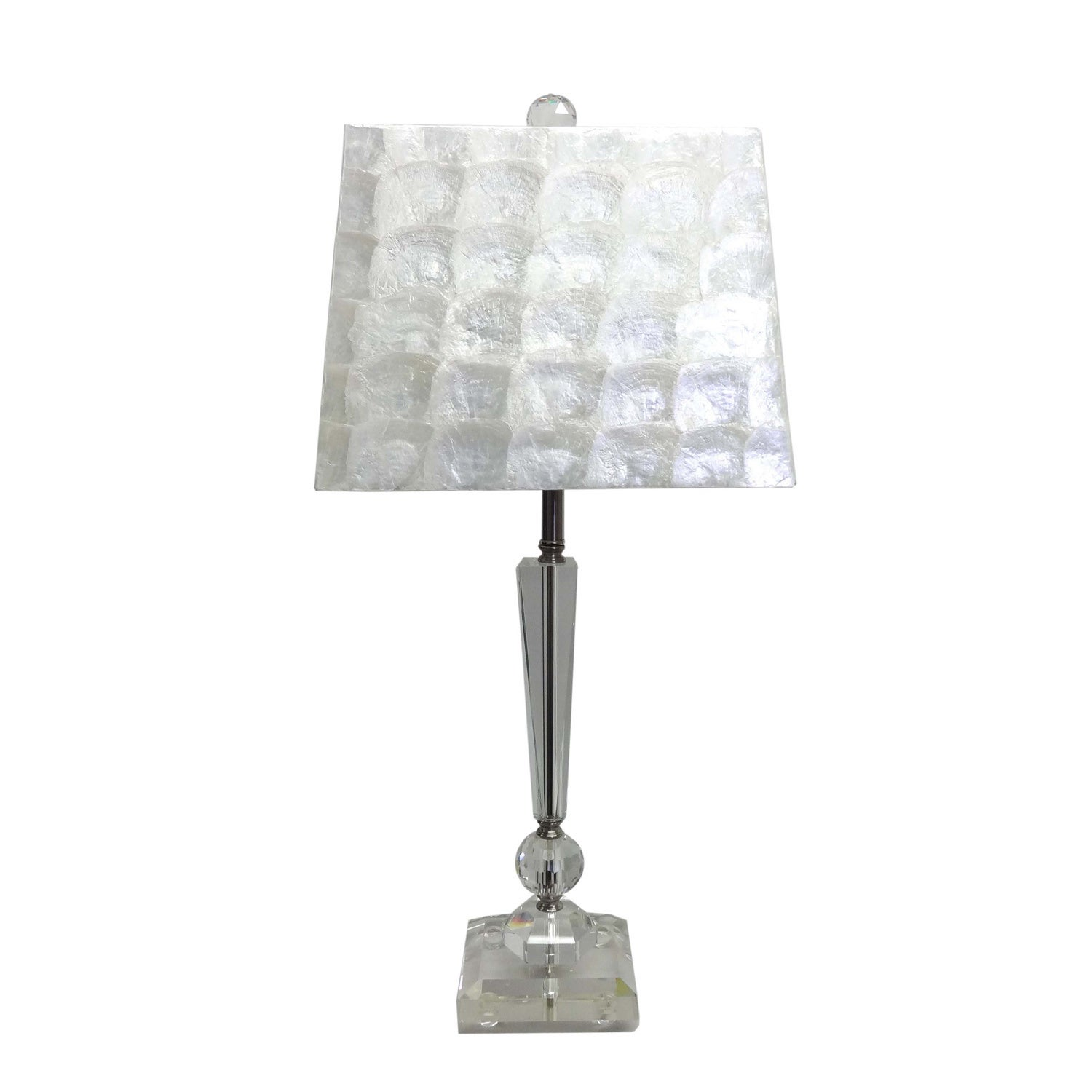 Neiman Marcus Mother of Pearl Shade Crystal Table Lamp (C...