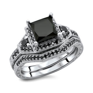 Noori 14k White Gold 2ct TDW Certified Black Diamond Princess Cut 2-Piece Ring Set