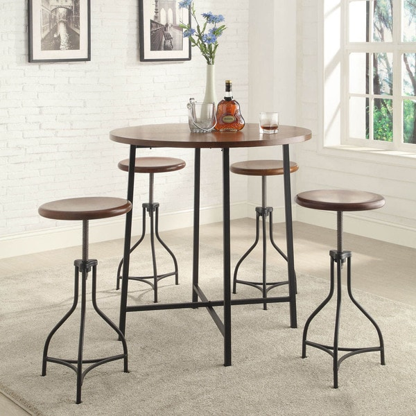 29 Inch Vintage Wood Bar Stool Dining Chair Counter Height: Shop 36-inch Round Lakeland Bar Table With Adjustable Wood