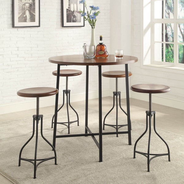 Round Table With Stools: Shop 36-inch Round Lakeland Bar Table With Adjustable Wood