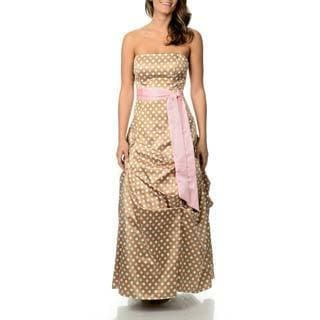Betsy & Adam Women's White/ Pink Polka Dot Ballgown