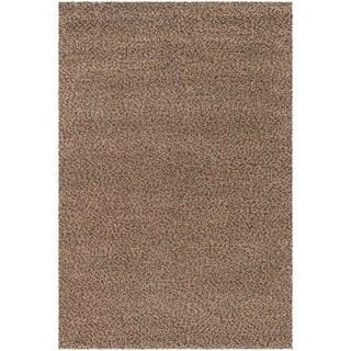 Hand-loomed Lagash Chocolate/ Camel Wool Shag Rug (3'6 x 5'6)
