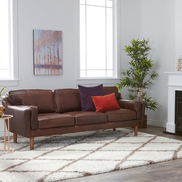 Carson Carrington Elsinore Chocolate Leather Sofa